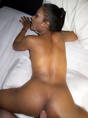 Jasmine has the thickest dark Ladyboy cock and bareback sex