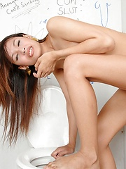 Pretty asian tgirl getting cock through gloryhole