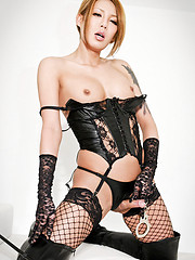 Hot ladyboy in lace and leather