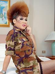 New recruit ladyboy gets her ass pummelled