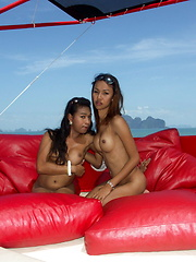 Tropical cruise with three superb ladyboys in the south of Thailand