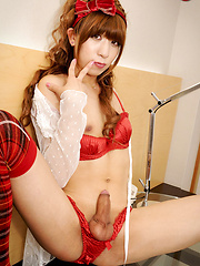 Yuko hails from the Saitama Prefecture but now lives and works in Tokyo for the same newhalf escort agency as two other SMJ models Fuuka and Serina.