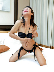 Young, hung ladyboy Jooy gets rock hard