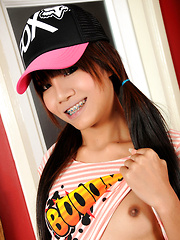 Adorable ladyboy teen with braces and perfect hormone tits