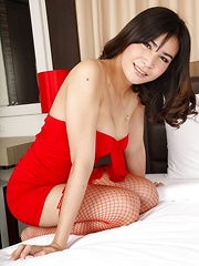 Ladyboy in Red Solo Toying
