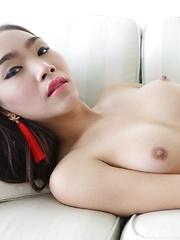 21 year old busty Thai ladyboy sucks cock and laps up tourists cumshot
