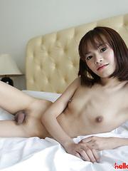 19 year old petite and shy Thai ladyboy striptease