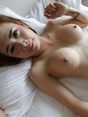 20 year old shy Thai ladyboy gets cum on her big tits